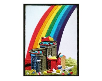 Rainbow Trash -Embroidered Patch - Badge - Kitsch - Trash - Rainbow - Pot of Gold - Muffy Brandt