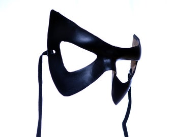 Super Hero Handmade Genuine Leather Mask in Black for Masquerades Halloween or Cosplay