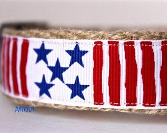 America Dog Collar, Red and White Dog Collar, Big Dog Collar, Blue Star Dog Collar, 4th of July Collar