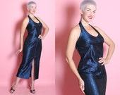 RARE 1960's Custom Made Metallic Sapphire Blue Chrome-Spun Lurex Halter Style Hourglass Evening Gown w/ Shelf Bust - VLV - Plus Size XXL