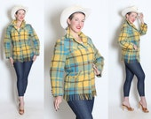 RESERVED 1950's Robins Egg Blue and Yellow Wool Plaid Western Blanket Fringe Jacket w/ Yokes & Pockets by Lasso Western Wear - Size M / L