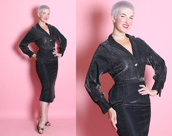 SPARKLING Early 1950's 2 Piece Hourglass Metallic Silver Chrome-Spun Lurex Rayon Cocktail Dress Suit Set - Blouse & Skirt w/ 3D Pockets - M