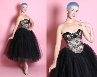 STUNNING 1950's New Look Ballerina Inspired Strapless Sweetheart Illusion Bodice Party Dress w/ Huge Layered Sheer Tulle Over Satin Skirt