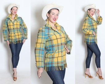 GORGEOUS 1950's Robins Egg Blue and Yellow Wool Plaid Western Blanket Fringe Jacket w/ Yokes & Pockets by Lasso Western Wear - Size M / L