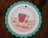 Beach Bum Collection: Set of 8 Circle Favor Tags. Summer Beach Girl Pink Pail Aqua Teal Shovel Sand Gift Tag Lake Ocean