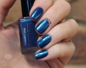 """Nail polish - """"Sintara""""  dark blue creme with turquoise shimmer"""