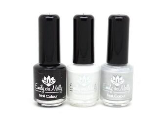 Stamping polish - Trio 7 - black, white, silver