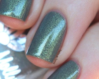 "Nail polish - ""Brick by Brick"" Grey with gold shimmer polish"