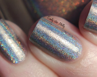 "Nail polish - ""Cracks in the walls"" neutral linear holographic polish with glitter"
