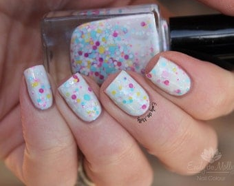 "Nail polish - ""Sugar Free"" multi colour glitter in a white creme base"