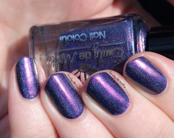 """Nail polish - """"Spell Check"""" Dark purple linear holographic polish with pink to gold shimmer"""