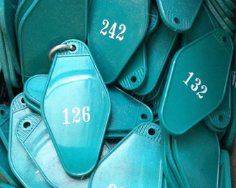Vintage Hotel Motel Keys Resort Club Key Fob Blanks TEAL Turqiose Green RARE FIND Giant Lot