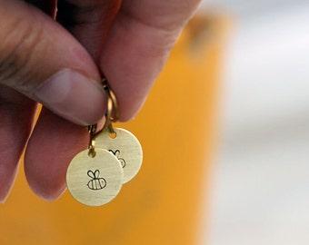 Cute, round BEE earrings // raw brass hook earrings // hand stamped jewelry