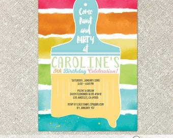 Paint Brush Art Birthday Party Invitation, Paint Party Invitation - Customized Printable File