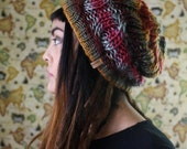 The Lilly in Desert Sunrise // Hand Knit Thick Cable Stitch Slouch Beanie