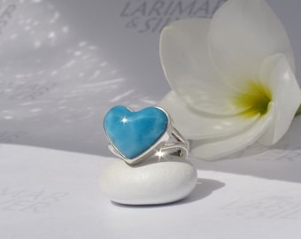 Larimar ring, Queen of Love - royal blue Larimar heart, blue heart ring, cobalt blue, AAA Larimar, deep blue love, handmade ring - size 5.5