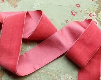 "1 yard antique 1 13/16"" wide silk velvet ribbon rich rose pink shade ribbonwork dress millinery hat trim flapper edwardian"