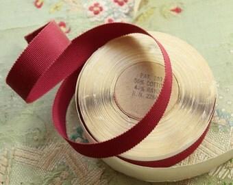 "10 yard roll Vintage cotton rayon grosgrain ribbon for ribbonwork millinery 11/16"" claret red flapper trim hat brim millinery"