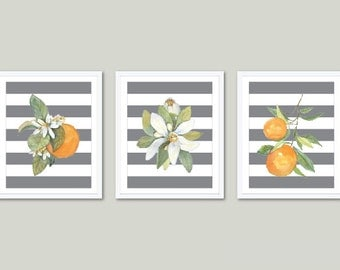 Oranges Art Prints - Orange Wall Art - Watercolor Orange Prints - Modern Kitchen Art - Set of 3 - Yellow and Gray Home Decor - Aldari Art