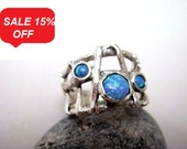 Handmade Silver Ring Three Opal - R1043 - ElenadE