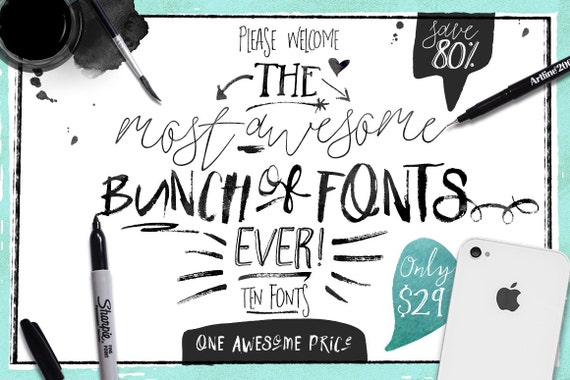 80% OFF Sale, Big Bunch of Fonts, hand drawn digital typeface bundle for typography, Brush, script, display