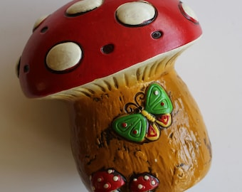 Biggest Magic Mushroom Vintage Salt Shaker EVER...Red and White Polka Dots...Made in Japan...SO Kawaii...Cute Butterflies...Retro Kitsch