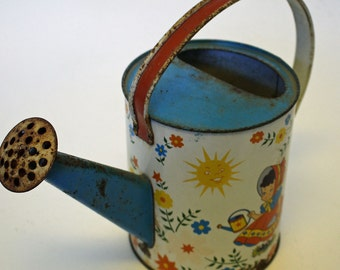 Adorable Vintage Ohio Art Child's Watering Can...Bright Primary Colors...Charming Graphics...Rustic Patina...Tin Litho