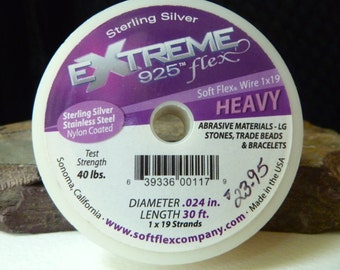 WHOLESALE - Sterling Silver Extreme Soft Flex Beading Wire - .024 Heavy Diameter - 30 Foot Spool - WHOLESALE