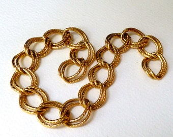 Fancy Double Link Chain - Twist Oval Curb -  22x16mm - Gold Plated Sturdy OPEN Links - Qty 11 inches - (chtw2)