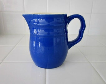 Vintage Stoneware Royal Blue 2 Cup Pitcher Made in USA - Kitchen Collectible - Cottage Chic Kitchen - 1940s Pitcher Collectible