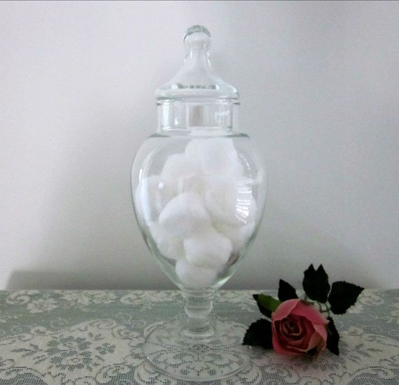 Vintage pedestal base apothecary jar clear glas apothecary jar