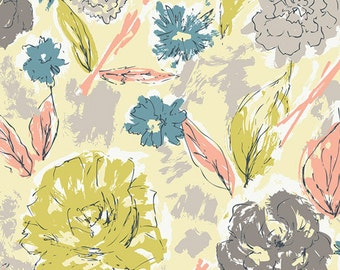 Coral Grey Blue Cream Green Floral Jersey Knit, Tapestry by Sharon Holland Art Gallery Fabrics, Paper Flowers in Aurora, 1 Yard Jersey Knit
