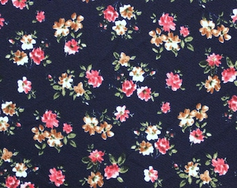 Navy Blue Red and Brown Floral Liverpool Knit Fabric, 1 yard