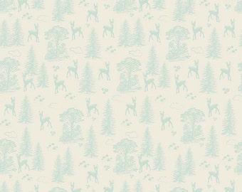 Aqua Blue and Cream Deer and Tree Cotton Fabric, Woodland Spring Designs by Dani for Riley Blake Designs, Friends Print in Aqua, 1 Yard