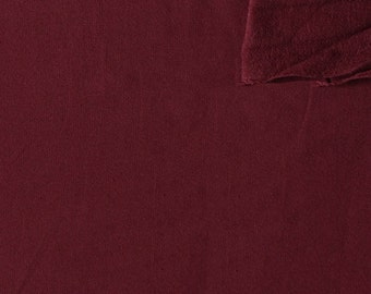 Solid Burgundy 4 Way Stretch French Terry Knit Fabric With Spandex, 1 Yard