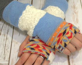 Upcycled Sweater Mittens- Fingerless Gloves For Women-Winter Gloves-Recycled Mittens-Hippie Fingerless Gloves- Bohemian Gloves-Warm Gloves