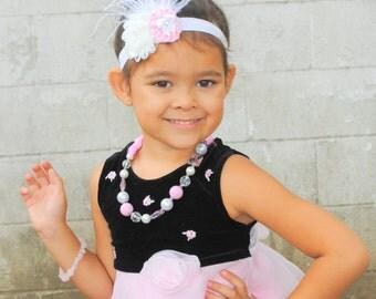 Pink floral headband, girls headband, infant headband, baby headband, photo prop, baby shower gift, baby gift, toddler headband, handmade