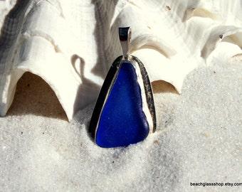 Sterling Silver Bezel Pendant - RARE Cobalt Blue Necklace - Lake Erie  Jewelry