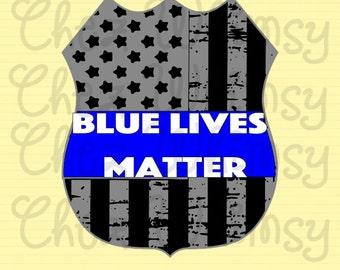 Blue Lives Matter SVG, Badge SVG, Police Badge, Distressed Badge Svg, Badge with Flag, Blue Lives Badge, Black The Blue Support