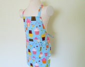 Childrens Apron - Scrumptious Sweet Cupcakes Tossed on a Beautiful Sky Blue,fun for cooking, baking and creating, fun summer colors
