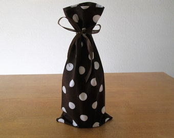 Cloth Wine Gift Bag - A fun chocolate brown retro Polka Dot Print - A fun way to gift a bottle of wine