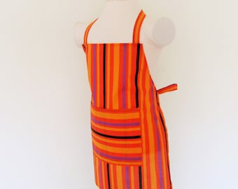 Childrens Apron - Kids Apron filled with Stripes...orange, purple and black - Fun for creating and cooking all your treats, painting apron