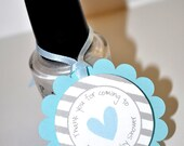 Boys Baby Shower Favor Tags - Blue and Gray - Thank You Tags - Baby Shower, Bridal Shower - Heart and Stripe - Set of 12