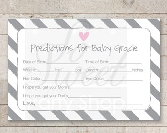 Girl Baby Shower Prediction Cards - Girl Baby Shower Decorations - Baby Shower Games - Heart and Stripe Pink - Printed Cards 4x6 - Set of 12