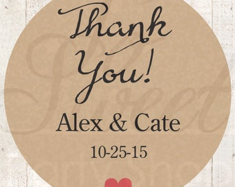 Thank You Stickers (Thank You) - Rustic Wedding Favor Stickers - Personalized Stickers - Kraft Bridal Shower, Baby Shower Favors - Set of 24