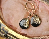 black dangle earrings with gold leaf and glitter on 14 karat gold, 1.25 inches long, black drop earrings - SMALL SIZE