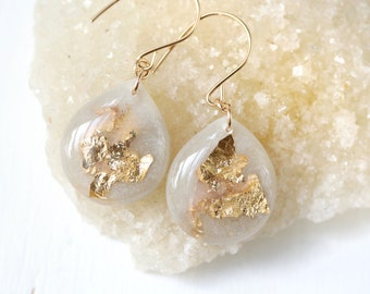 dove grey and gold leaf and glitter tear drop earrings on 14 karat gold fill ear wires