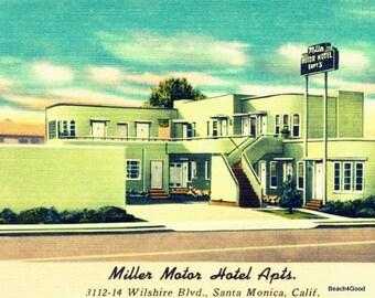 Mid Century Modern Art Motel Print, Vintage California Art Vintage Hotel Art, Art Deco Hotel Decor, Motel Sign, Aqua MCM Art