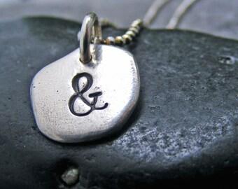 Ampersand Necklace, Sterling Silver Ampersand, Ampersand Charm Necklace, And Symbol Charm