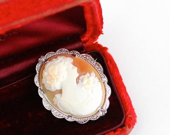 Sale - Antique Art Deco 10k White Gold Carved Shell Cameo Brooch - Vintage 1920s Lovely Lady Filigree Classic Bridal Fine Jewelry
